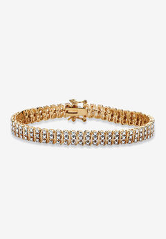 """Yellow Gold Plated S Link Tennis Bracelet (7.5mm), Genuine Diamond Accent 8"""","""