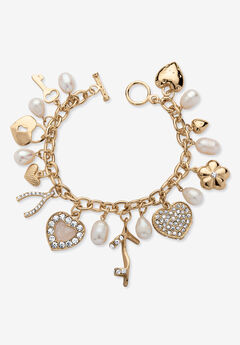 """Gold Tone Charm Bracelet Crystal and Cultured Freshwater Pearl 8"""","""