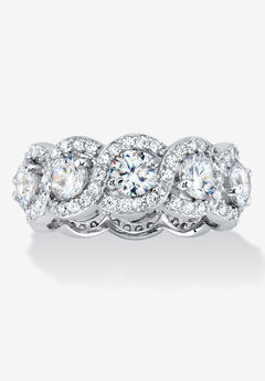 Platinum over Sterling Silver Cubic Zirconia Halo Eternity Bridal Ring,