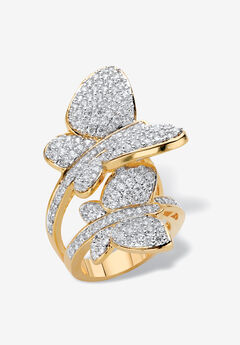 Yellow Gold Plated Cubic Zirconia Butterfly Wraparound Ring,