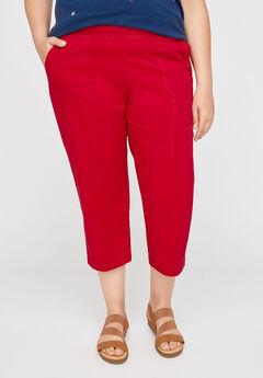 Knit Waist Cargo Capri, RED