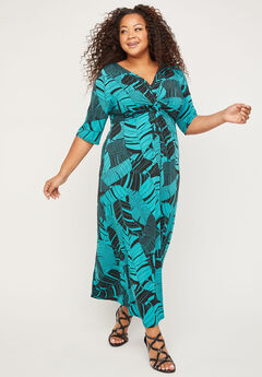 Palm Rush Twist-Knot Maxi Dress,