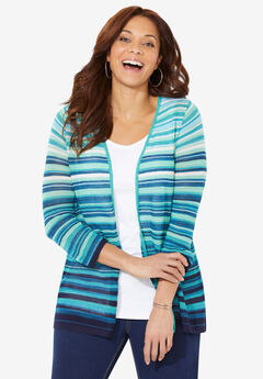 Ombre Stripe Tunic Cardigan,
