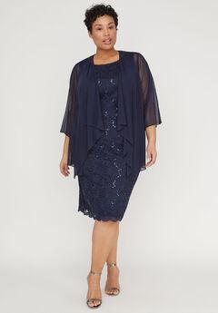 Sparkling Lace Jacket Dress,