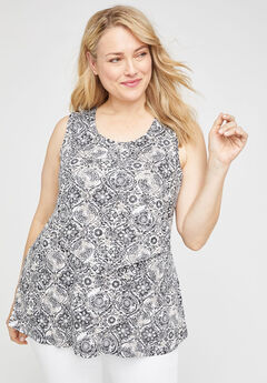Garden Layers Tank, BLACK WHITE MEDALLION
