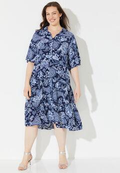 Paisley A-Line Shirtdress,
