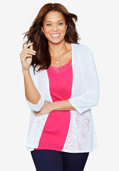Embroidered Lace Cardigan, WHITE