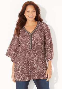 Bejeweled Pleated Blouse,
