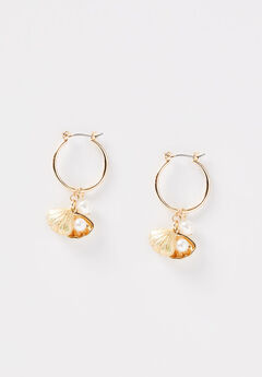 Seashore Charm Hoop Earrings,