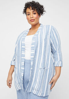 Striped Linen Blend Jacket,