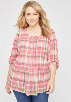 Plaid Shimmer Gauze Buttonfront Top,