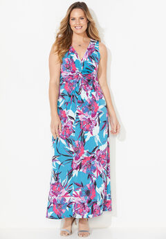 Expressive Twist-Knot Maxi Dress,