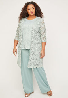 3-Piece Metallic Lace Pant Suit,