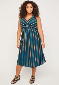 Midnight Medallion Twist Fit & Flare Dress,