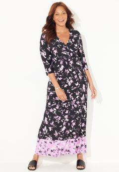 Lilac Garden Faux-Wrap Maxi Dress,