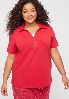 Suprema Polo Duet Top, RED