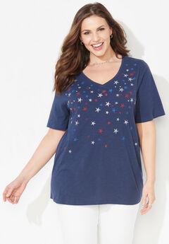 Stars & Shine Tee, MARINER NAVY STAR FALLING