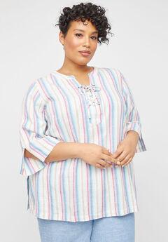Shimmer Stripe Linen Blend Tunic,