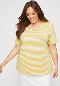Striped Embroidered-Neck Suprema Tee,