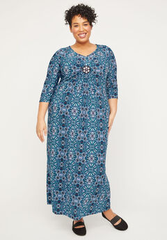 Winflo Medallion Twist Maxi Dress,