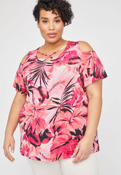 Tropical Wish Open-Shoulder Tee, PINK TROPICAL