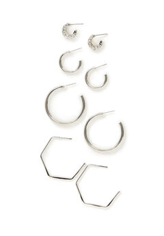 Silvertone Hoop Earrings 4-Pack,
