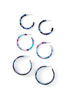 Marbled Resin Hoop Earrings 3-Pack,