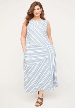 Seashore Stripe Linen Blend A-Line Dress,