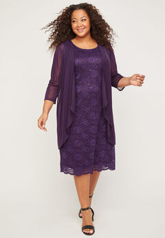 Sparkling Lace Jacket Dress, PURPLE PENNANT