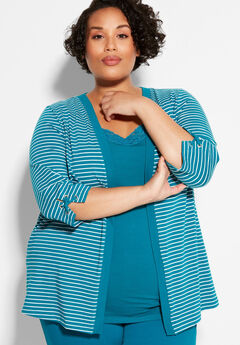 Suprema Striped Cardigan With Sleeve Detail,