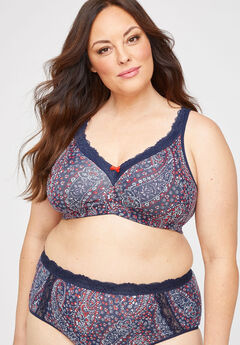 Printed Cotton Comfort No-Wire Bra With Lace,