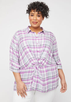 Twist-Knot Buttonfront Top,