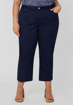 Sateen Stretch Capri With Comfort Waistband,