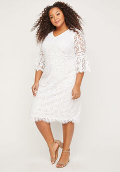 Eyelash Lace Shift Dress,