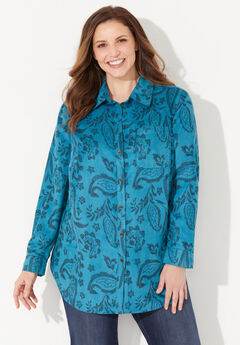 Sueded Buttonfront Shirt,