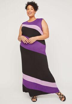 AnyWear Slant Stripe Maxi Dress,
