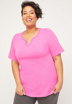 Suprema Embroidered Notch-Neck Top,