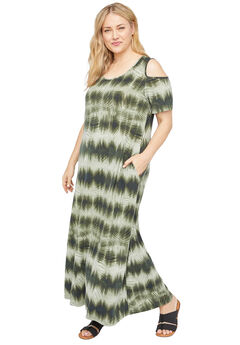 Pine Island Open-Shoulder Maxi Dress (With Pockets),