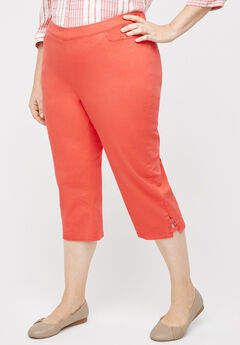 Essential Flat Front Twill Capri With Side Inset, CAYENNE