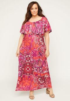 Meadow Crest Maxi Dress, FUCHSIA PATCHWORK PRINT