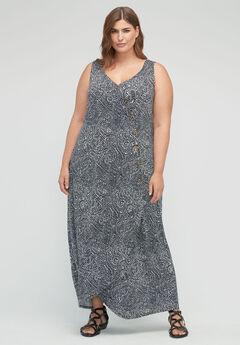 Dotted Faux-Wrap Maxi Dress,