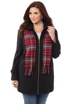 Sidewalk Coat & Scarf, BLACK