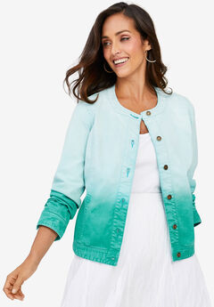 Collarless Denim Jacket, AQUA SEA OMBRE