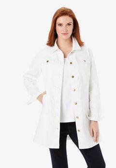 Long Denim Jacket, WHITE