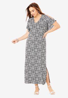 Cold Shoulder Maxi Dress, GEO TILE