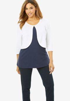 Curved Hem Sweater Shrug, WHITE