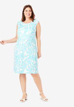 Linen Sheath Dress, AQUA FLORAL IKAT