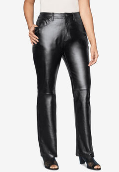 Straight Leg Leather Pants, BLACK