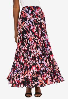 Flowing Crinkled Skirt, BLACK FLAT FLORAL