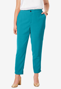 Tummy Control Bi-Stretch Ankle Pant, DEEP TURQUOISE